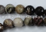 CWJ214 15.5 inches 12mm faceted round wood jasper gemstone beads