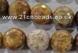 CWJ309 15.5 inches 16mm faceted round wood jasper gemstone beads