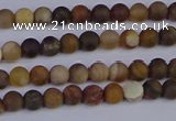 CWJ410 15.5 inches 4mm round matte wood jasper beads wholesale