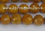 CWJ470 15.5 inches 8mm faceted round yellow petrified wood jasper beads