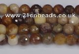 CWJ475 15.5 inches 4mm faceted round wood jasper gemstone beads