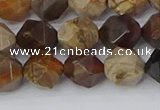 CWJ485 15.5 inches 10mm faceted nuggets wood jasper beads