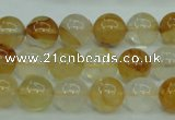 CYC103 15.5 inches 10mm round yellow crystal quartz beads