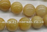 CYJ402 15.5 inches 8mm round yellow jade gemstone beads