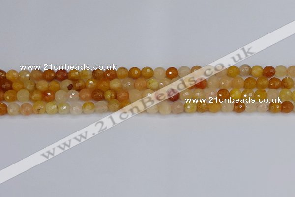 CYJ645 15.5 inches 4mm faceted round mixed yellow jade beads