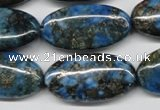 CYQ73 15.5 inches 15*30mm oval dyed pyrite quartz beads wholesale