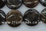 CZJ180 15.5 inches 20mm flat round iron zebra jasper beads