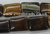CZJ191 15.5 inches 15*20mm rectangle iron zebra jasper beads