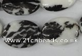 CZJ221 15.5 inches 18*25mm oval black & white zebra jasper beads