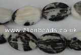 CZJ230 13*18mm carved oval black & white zebra jasper beads