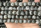 CZJ414 15.5 inches 12mm round green zebra jasper beads wholesale