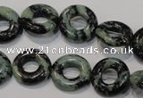CZJ503 15.5 inches 15mm donut green zebra jasper beads