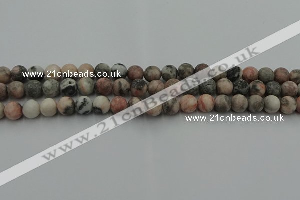 CZJ562 15.5 inches 8mm round matte pink zebra jasper beads