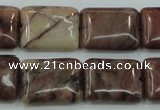 CZJ86 16 inches 15*20mm rectangle red zebra jasper beads wholesale