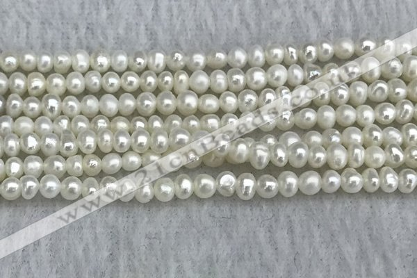 FWP16 15 inches 3.2mm - 3.7mm potato white freshwater pearl strands