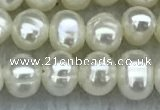 FWP19 14.5 inches 3mm - 4mm potato white freshwater pearl strands