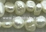 FWP234 15 inches 3mm - 4mm baroque white freshwater pearl strands