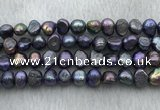 FWP247 15 inches 7mm - 8mm baroque black freshwater pearl strands
