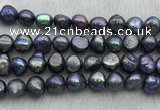 FWP257 15 inches 11mm - 12mm baroque black freshwater pearl strands