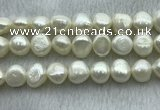 FWP260 15 inches 11mm - 12mm baroque white freshwater pearl strands