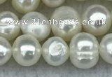 FWP35 15 inches 5mm - 6mm potato white freshwater pearl strands