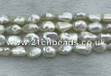FWP354 15 inches 9mm - 10mm baroque white freshwater pearl strands