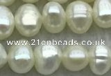 FWP39 15 inches 4mm - 5mm potato white freshwater pearl strands