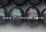 FWP92 15 inches 8mm - 9mm potato black freshwater pearl strands