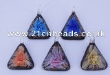 LP73 11*33*47mm triangle inner flower lampwork glass pendants