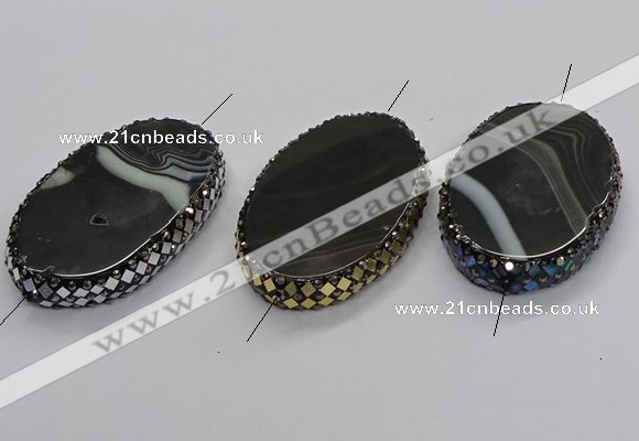 NGC1783 35*55mm oval agate gemstone connectors wholesale
