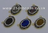 NGC5508 18*25mm oval plated druzy agate gemstone connectors