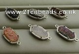 NGC6015 5*8mm oval plated druzy agate connectors wholesale