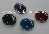 NGC78 30mm flat round agate gemstone connectors wholesale