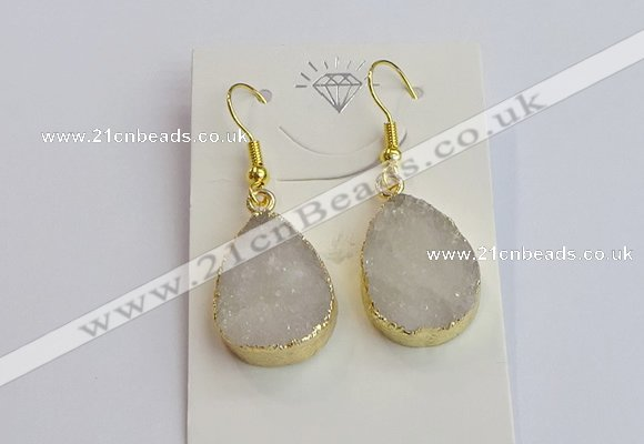 NGE400 15*20mm teardrop druzy agate gemstone earrings wholesale