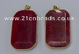 NGP3283 35*60mm octagonal agate gemstone pendants wholesale