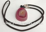 NGP5653 Agate flat teardrop pendant with nylon cord necklace