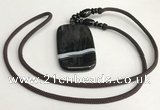 NGP5678 Agate rectangle pendant with nylon cord necklace