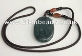 NGP5700 Agate oval pendant with nylon cord necklace