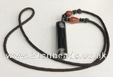 NGP5703 Agate tube pendant with nylon cord necklace