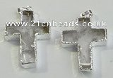 NGP6048 30*40mm - 35*45mm cross white crystal pendants