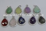 NGP6348 25*30mm teardrop mixed gemstone pendants wholesale