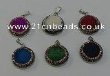 NGP6546 20mm - 22mm coin druzy agate gemstone pendants wholesale