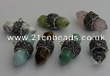 NGP7220 15*40mm sticks mixed gemstone pendants wholesale