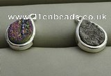 NGP7578 10*14mm flat teardrop plated druzy agate pendants wholesale
