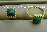 NGR1071 8*8mm square malachite gemstone rings wholesale
