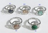 NGR1136 7mm - 11mm flat round mixed gemstone gemstone rings wholesale