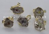 NGR204 18*25mm – 25*35mm freeform druzy quartz gemstone rings